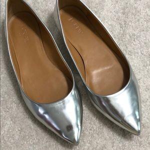 J Crew Metallic Flat Shoes